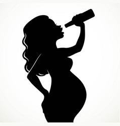 drinking beer pregnant woman silhouette isolated vector image vector image