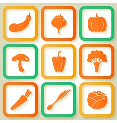 Set of 9 retro icons with vegetables vector image vector image