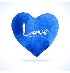 Watercolor blue heart vector image