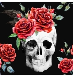 Watercolor skull and roses pattern vector image