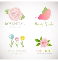 Abstract floral designs for logo vector image vector image