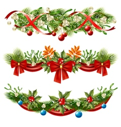 Christmas Berry Branches Decoration Set vector image