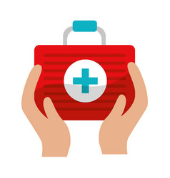 first aid kit tool in the hands vector image