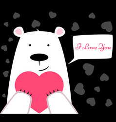 funny cute polar bear with heart valentine s day vector image