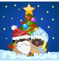 Santa Claus and snow maiden with Christmas tree vector image vector image