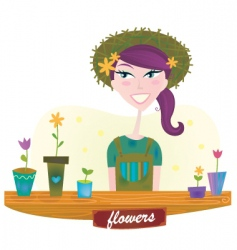 woman with spring garden flowers vector image vector image