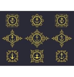 anchors set luxury vector image