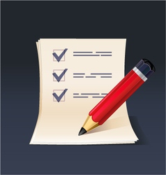 blank note paper or check list with pencil icon vector image