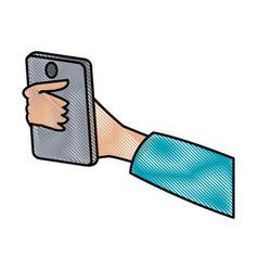 drawing hand holding smartphone digital design vector image