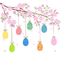 eggs on blooming spring tree vector image