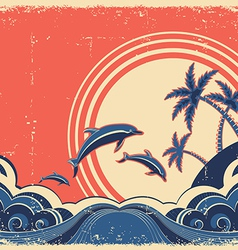 Grunge seascape poster with dolphins vector image