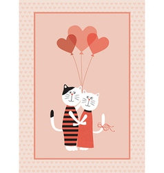 Two cats in love with balloons vector image vector image