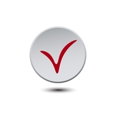 White round volume plastic button on a white vector image