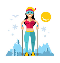 girl on skis flat style colorful cartoon vector image