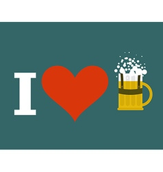 I love beer at Oktoberfest Beer mug in traditional vector image vector image