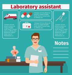 laboratory assistant and medical equipment icons vector image vector image