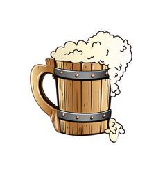 Old wooden beer mug vector