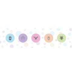 5 animal icons vector