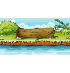 A big trunk beside pond vector