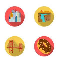 A megacity a grand canyon a golden gate bridge vector