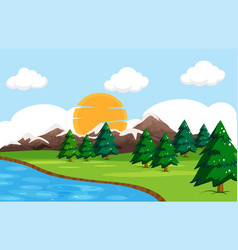 a simple nature landscape vector image