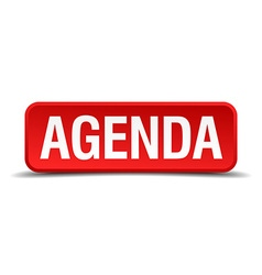 Agenda red three-dimensional square button vector