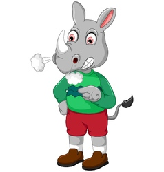 Angry rhino cartoon vector