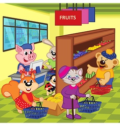 Animals in supermarket vector