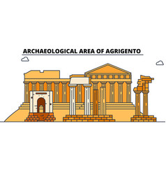 Archaeological area of agrigento line trave vector