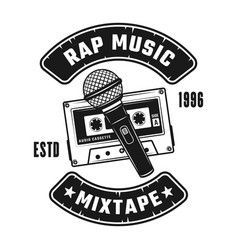 audio cassette and microphones emblem vector image