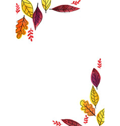 autumn leaves outline drawing with watercolor vector image
