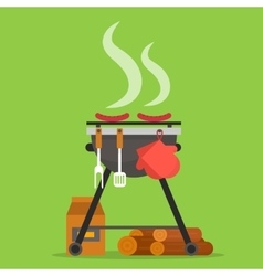 Barbecue grill with tools and firewood vector