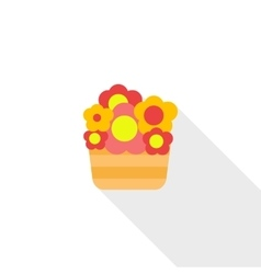 Basket with flowers icon flat style vector image