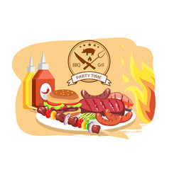 bbq grill party time color vector image