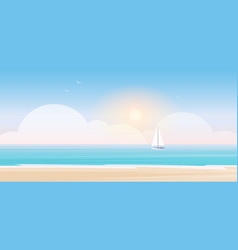 beach landscape cartoon seascape scenery with sea vector image