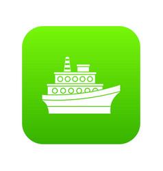 big ship icon digital green vector image