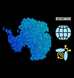 blue hexagon antarctica map vector image
