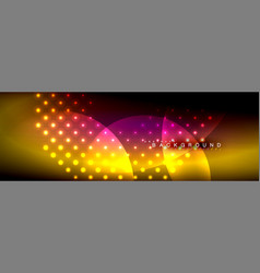 Blurred neon glowing circles with flowing vector
