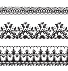 Border pattern line lace elements with flowers in vector