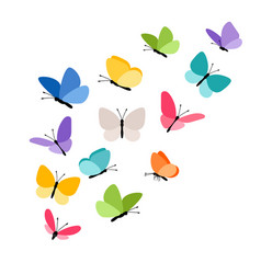 Butterflies in flight vector