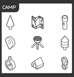 camp outline isometric icons vector image