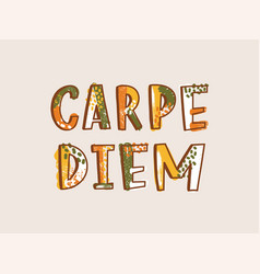 carpe diem latin phrase written with decorative vector image