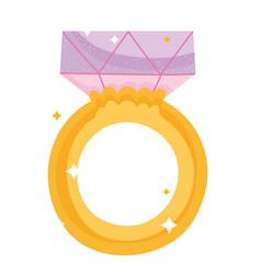 cartoon ring diamond gem jewelry icon vector image