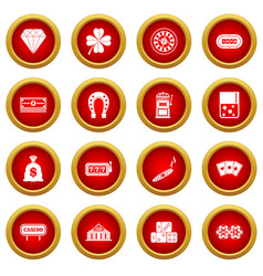 Casino icon red circle set vector