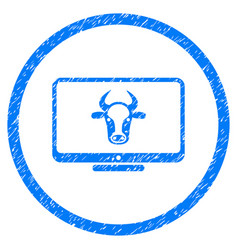 Cattle monitor rounded grainy icon vector