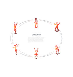 children outdoors - children playing football vector image