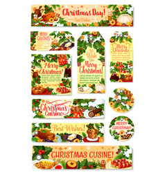 christmas dinner tag and label with festive dish vector image