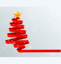 Christmas tree made of red ribbon on bright vector