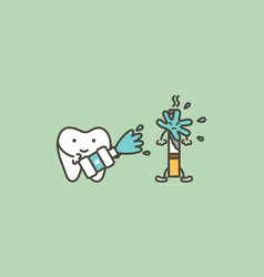 Cleaning tooth by mouthwash vector