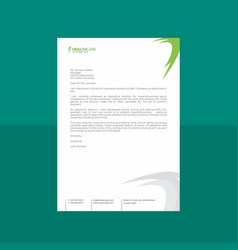 Creative green and white letterhead with curvy vector